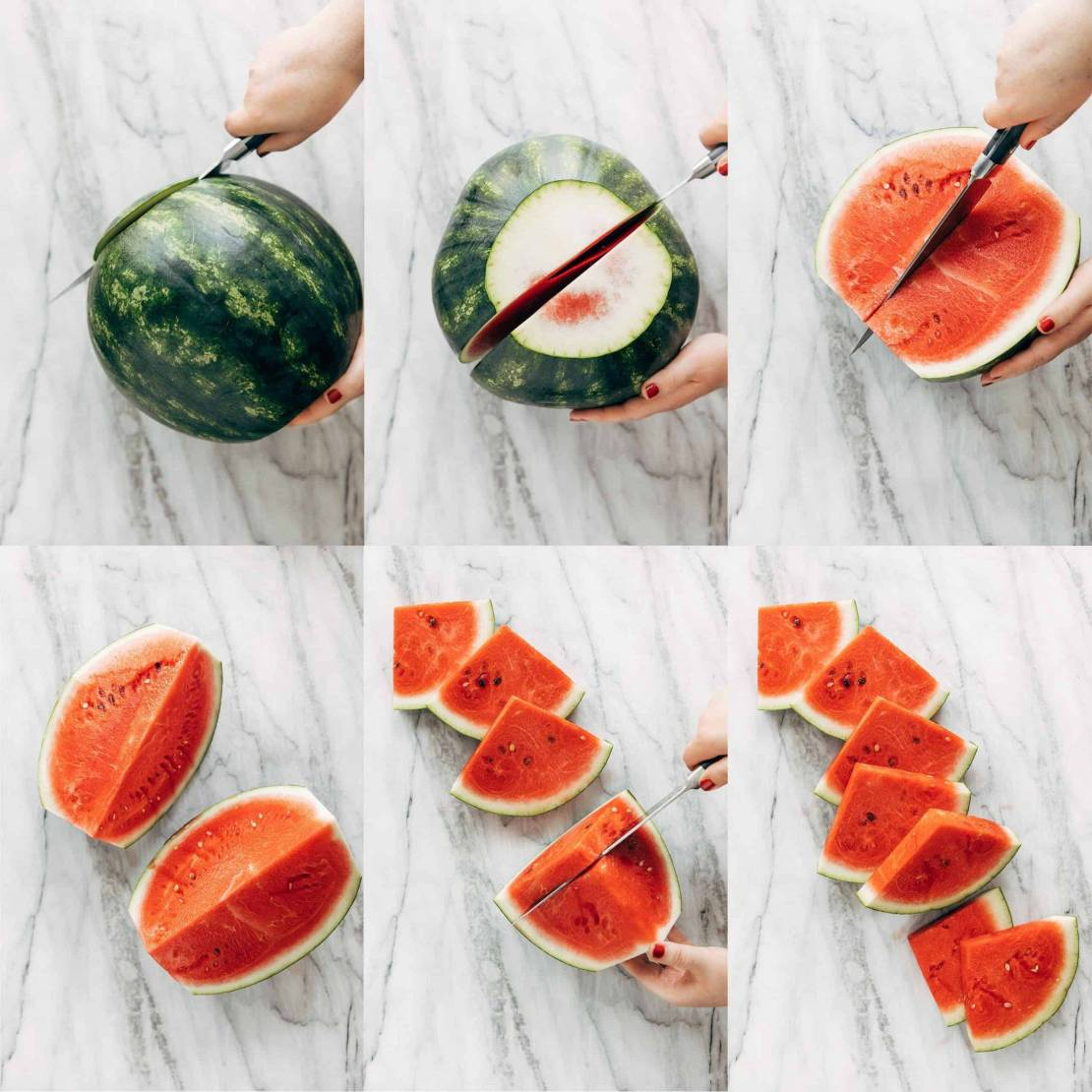 Collage showing how to cut a watermelon into triangles.