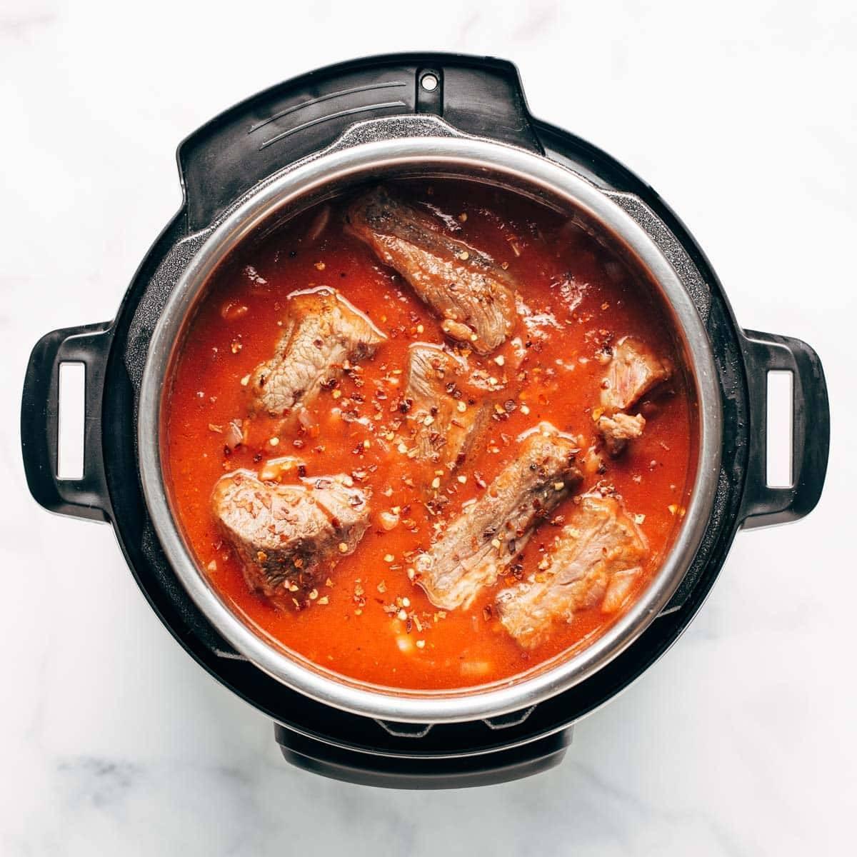 Beef ragu in Instant Pot.