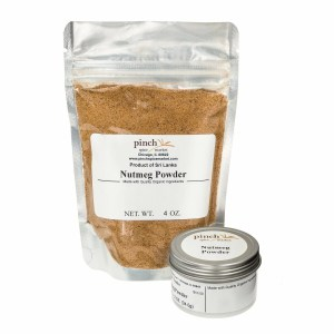 bag and tin of certified organic nutmeg powder