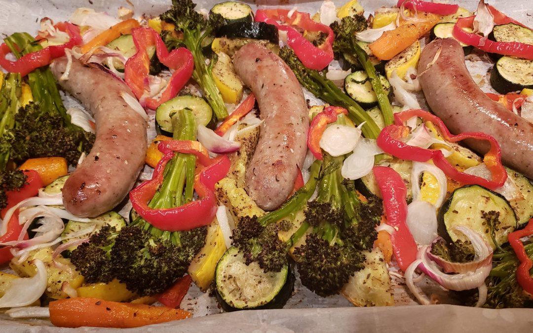 One Sheet Pan Sausage and Veggies
