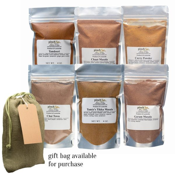 set of six real Indian spice blends