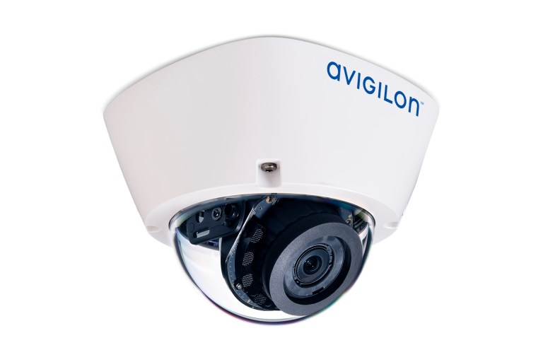 Avigilon H5A dome camera with IR illuminators (right ¾ view)