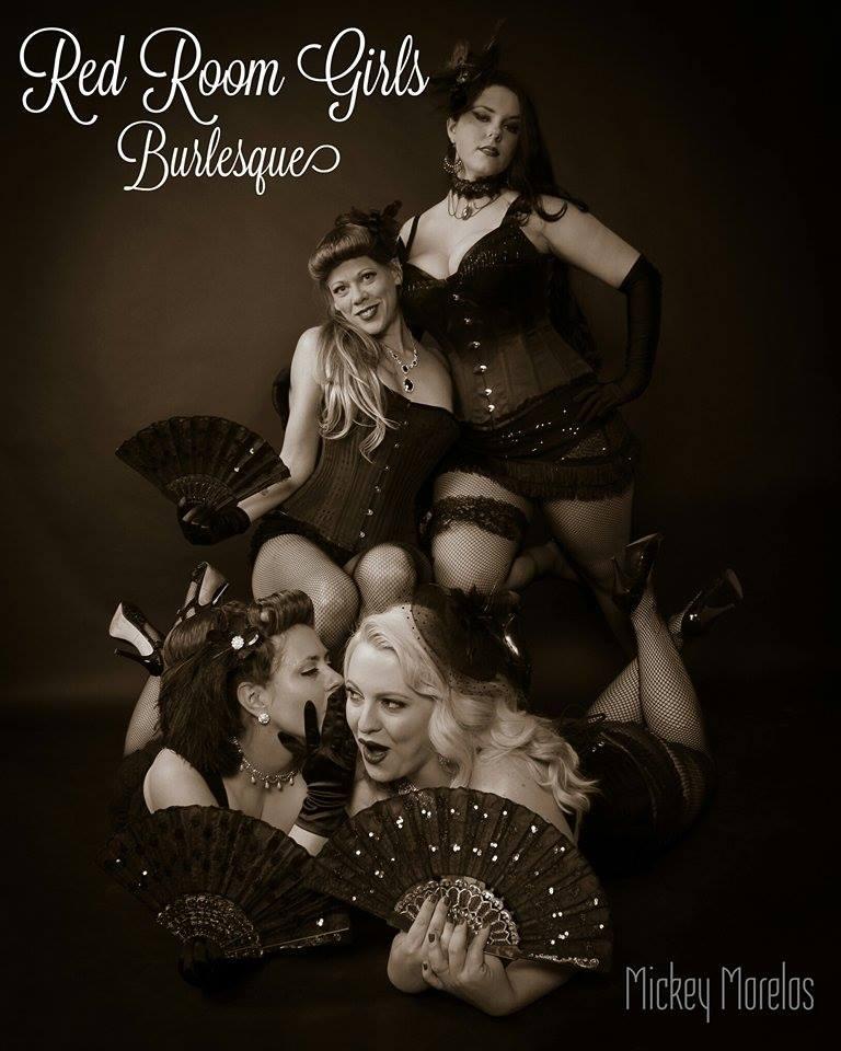The Red Room Girls. L-R: Pussilla Divine, Lily Boudoir, The Black Dahlia, Tallulah Strange