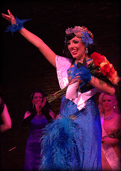 Puss n Boots is crowned Queen of the Kansas City Burlesque Festival 2015. Photo: Samantha Bessent