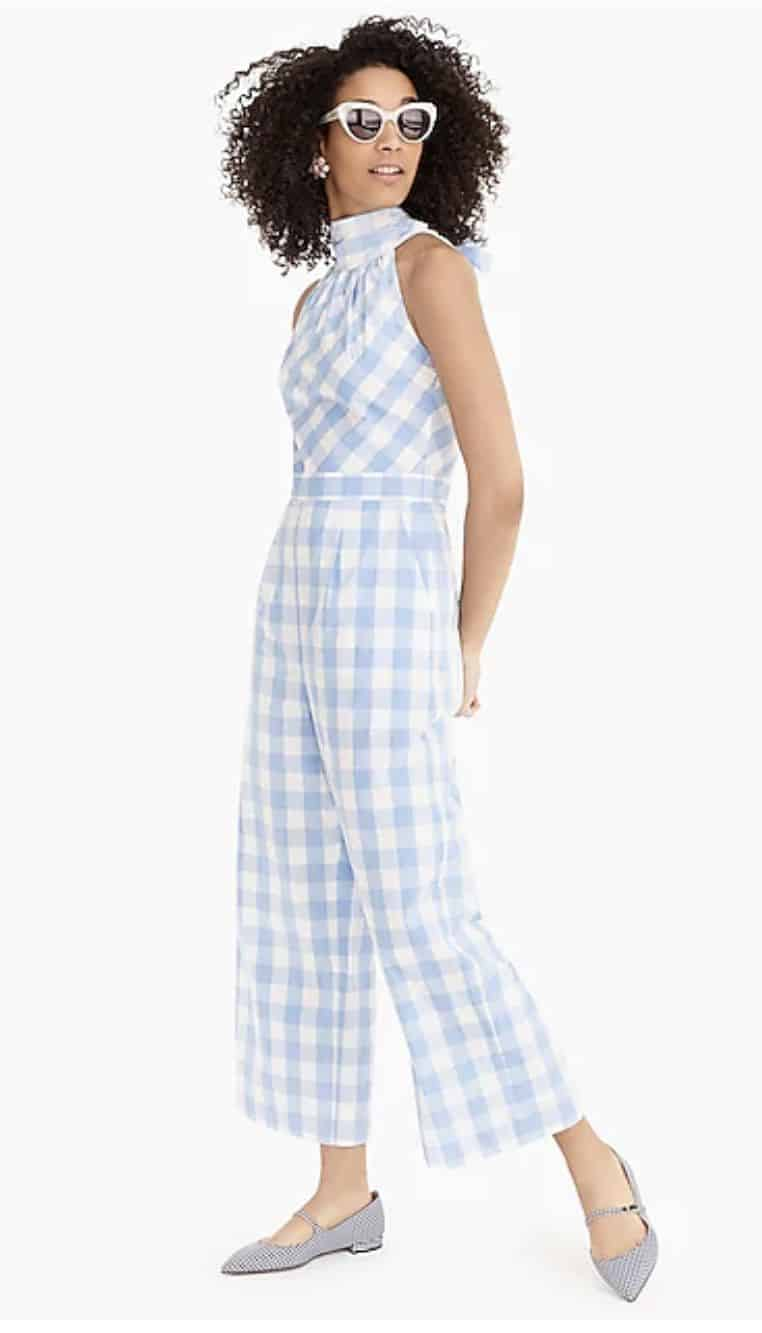 gingham high neck jumpsuit spring outfit