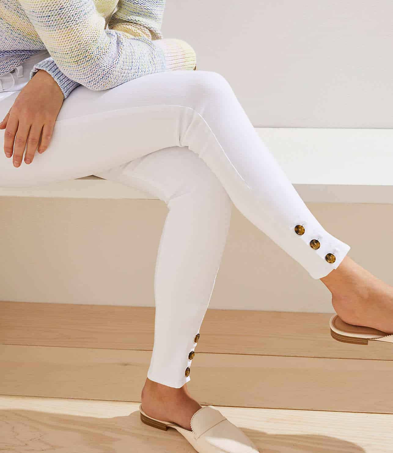 modern button cuff slim pocket skinny jeans in white