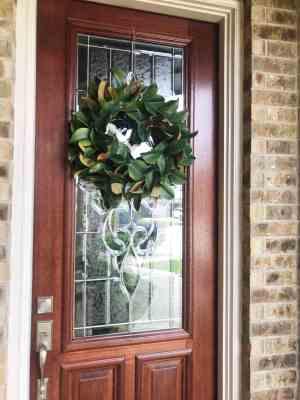 magnolia leaf wreath front door