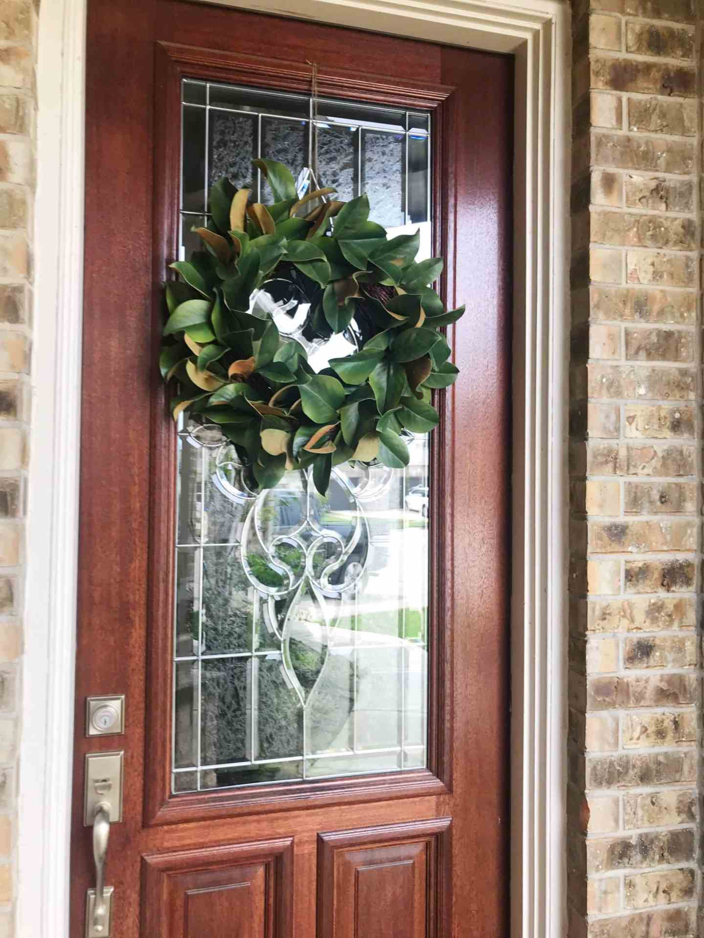 magnolia leaf wreath front door