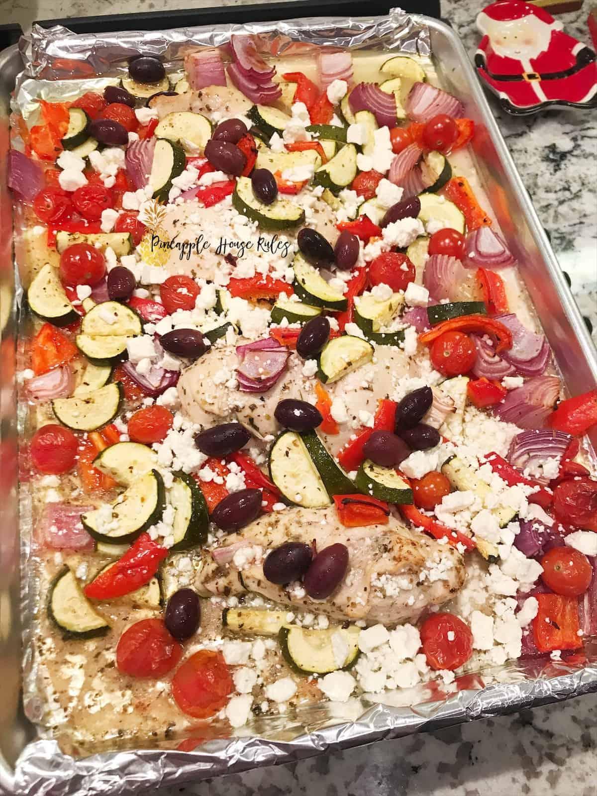 Yummy Greek Chicken Sheet Pan Bake