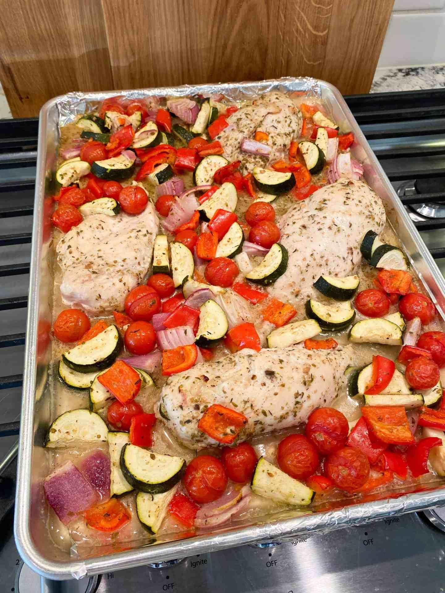 baked-chicken-and-vegetables-in-Greek-vinaigrette