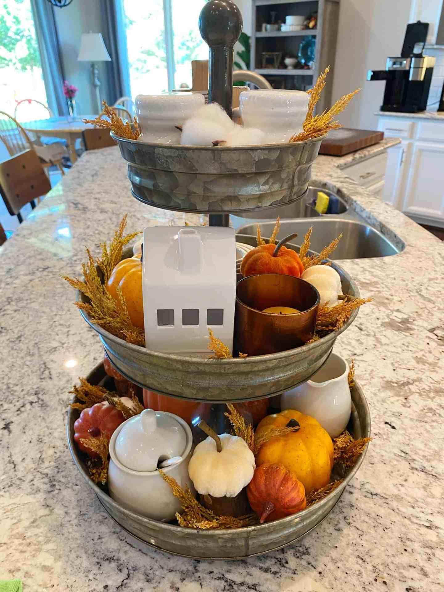 fall decor tiered tray