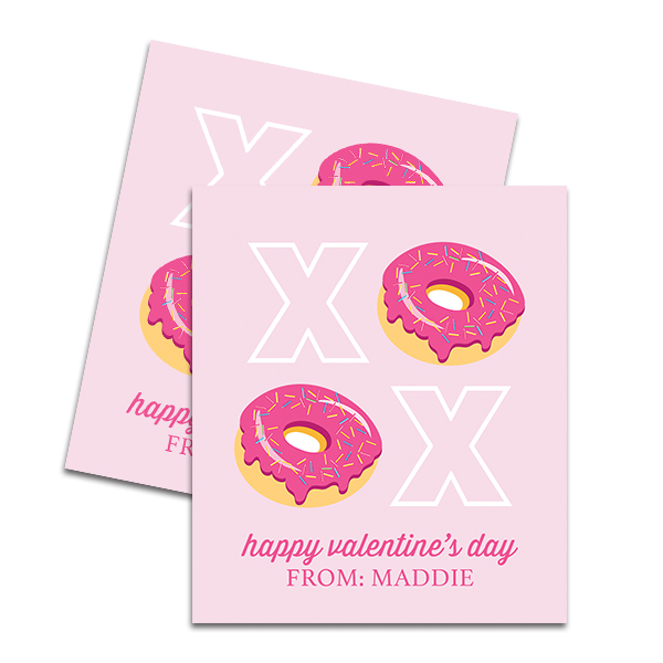 image regarding Donut Valentine Printable identify Donuts XOXO Custom-made Printable Mini Valentine Card