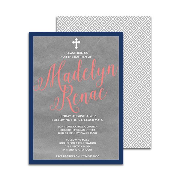 Baptism Grey With Greek Key Printable Personalized Invitation