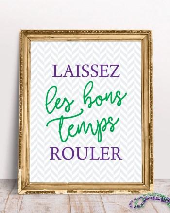 Free Laissez les Bon Temps Rouler Printable Mardi Gras Sign by Pineapple Paper Co.