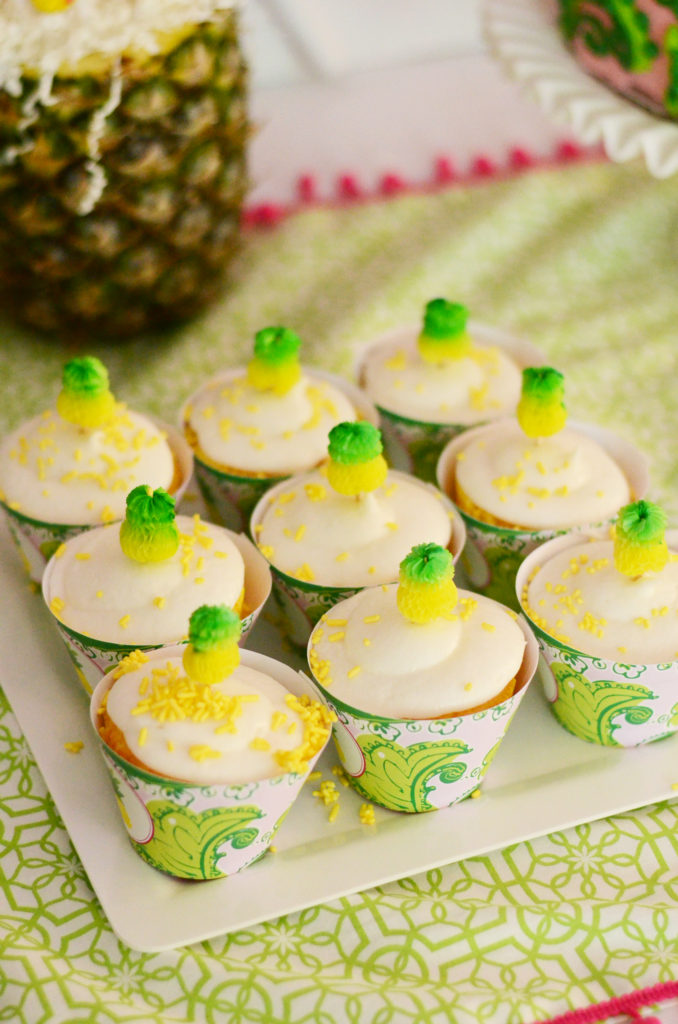 Pineapple Cupcakes with Cupcake Toppers and Tropical Cupcake Wrappers