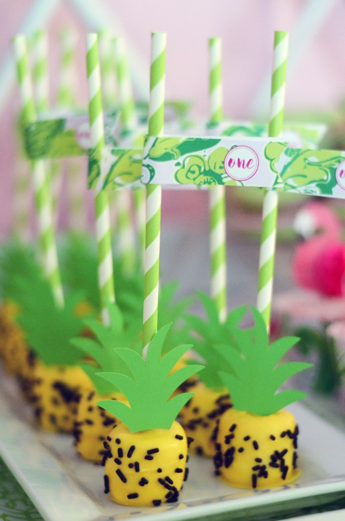 Pineapple Cake Pops with First Birthday Straw Flags