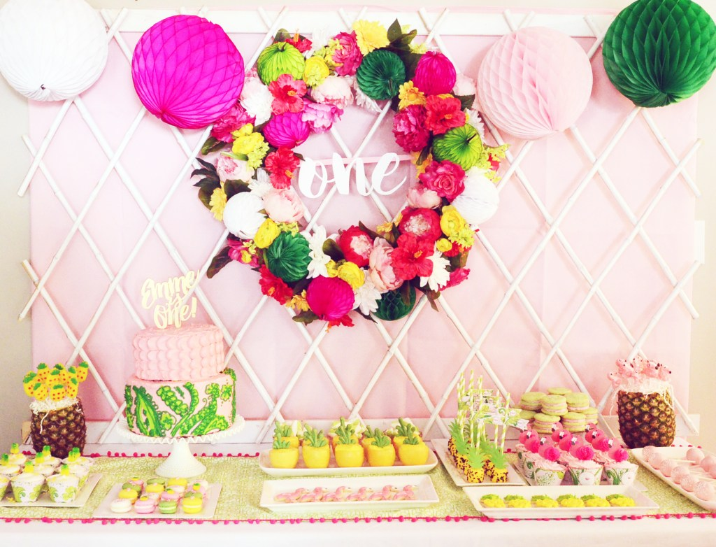 Tropical Flamingo and Pineapple First Birthday Party Dessert Table by Pineapple Paper Co.