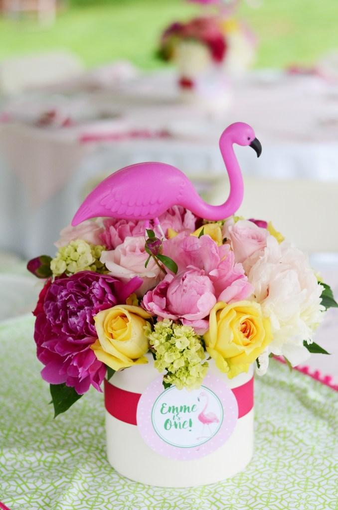 Tropical Flower Arrangement with Flamingo