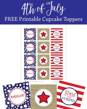 4th of July FREE Cupcake Toppers