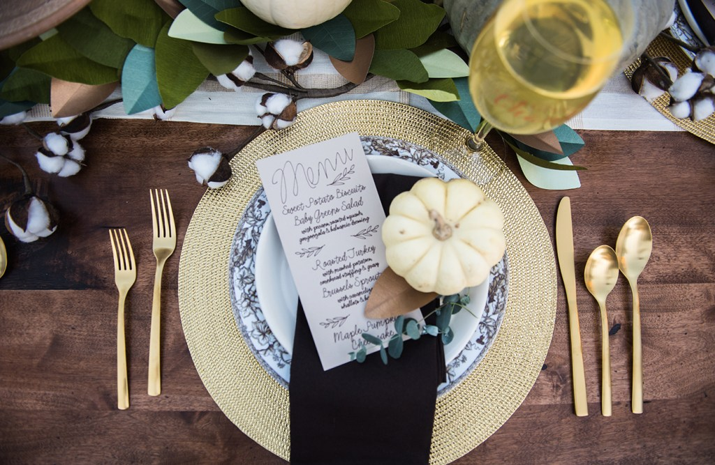 Thanksgiving Menu Card and Placesetting for Rue Magazine and Cricut by Pineapple Paper Co.