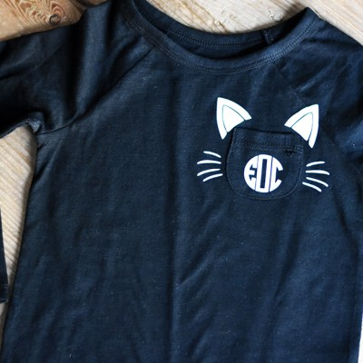DIY Black Cat Monogram Halloween Shirt