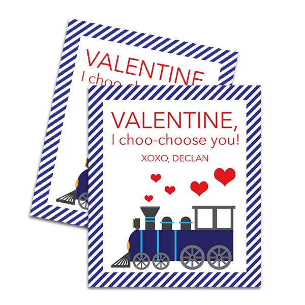 Train Printable Valentine for Boys by Pineapple Paper Co.