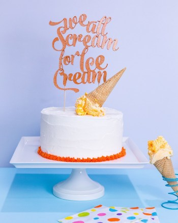 We All Scream for Ice Cream Script Cake Topper by Celebration Shoppe