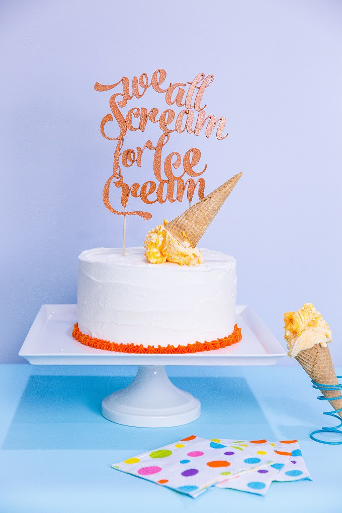 We All Scream for Ice Cream Script Cake Topper by Celebration Shoppe