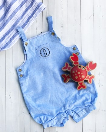 Monogrammed Baby Boy Outfit with Cricut Iron On by Pineapple Paper Co.