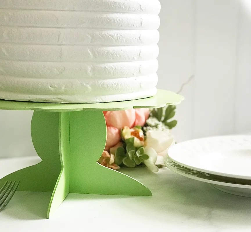 DIY Jadeite Cake Stand by Pineapple Paper Co. made with Cricut Maker