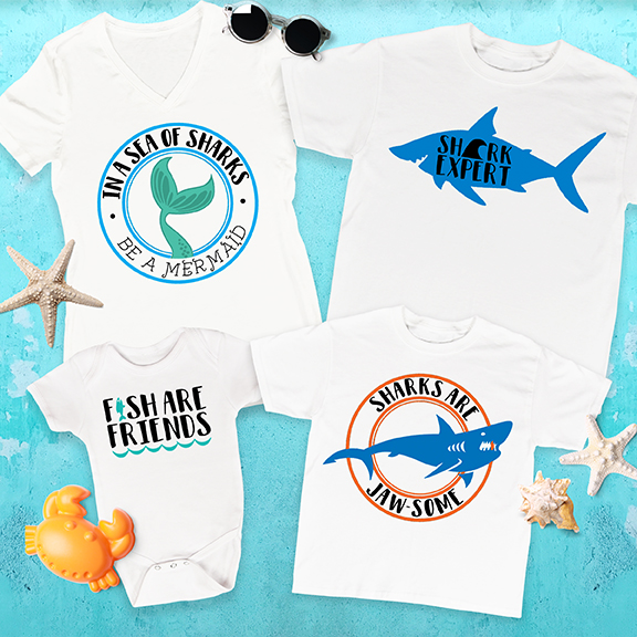 DIY Shark Week T Shirts on Cricut Design Space by Pineapple Paper Co.