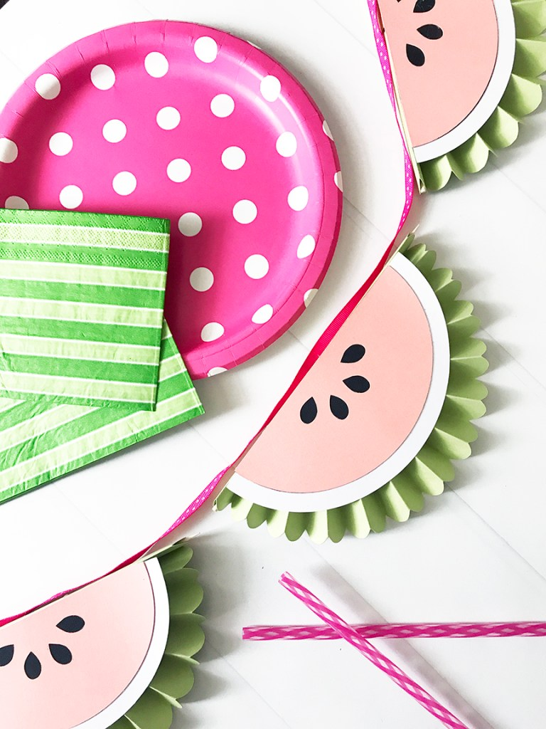 DIY Watermelon Rosette Banner by Pineapple Paper Co.