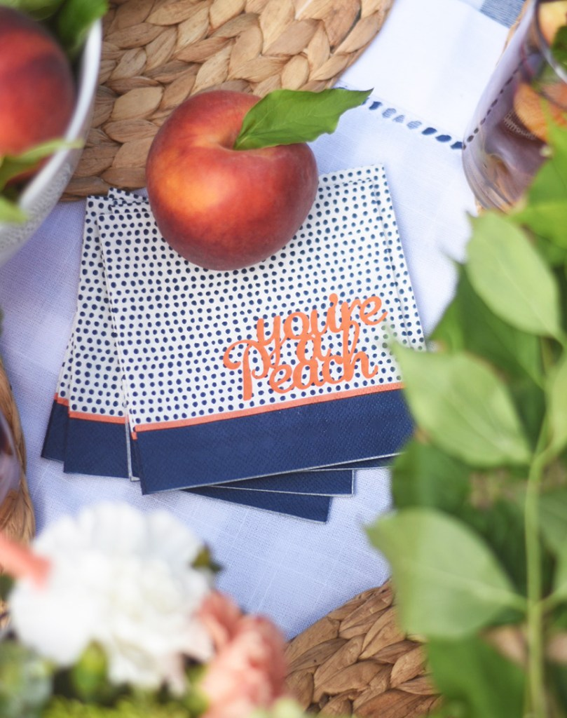 You're a Peach Personalized Cocktail Napkins by Pineapple Paper Co.