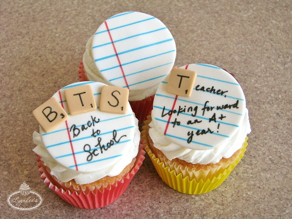 Back to School Notebook Fondant Cupcake Toppers