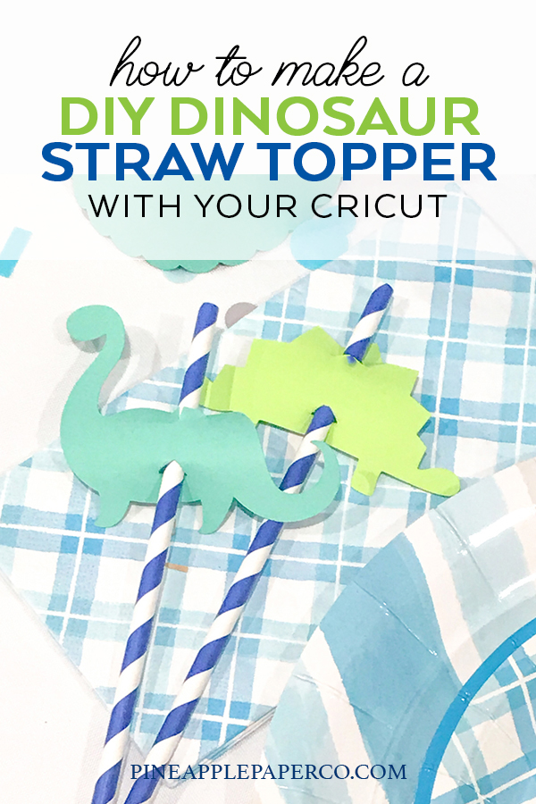How to Make Dinosaur Birthday Party Straw Toppers by Pineapple Paper Co.