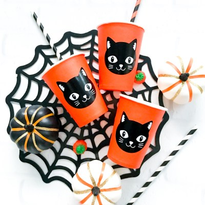 DIY Halloween Party Cups with Cricut Vinyl