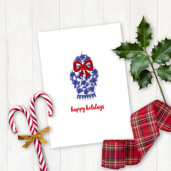 Blue and White Happiness Jar Printable Christmas Card by Pineapple Paper Co.