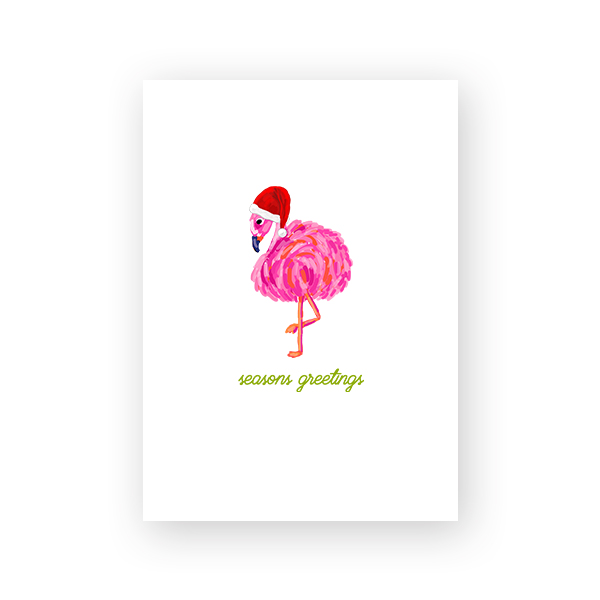Santa Flamingo Printable Christmas Card by Pineapple Paper Co.
