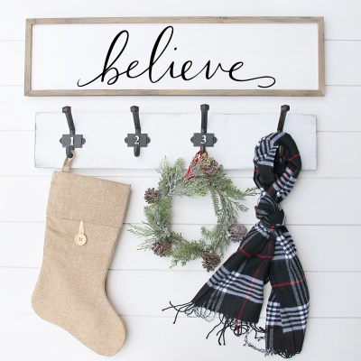 Free Believe Christmas SVG Cut File + DIY Christmas Wall Sign