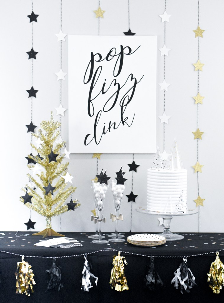 DIY New Year's Eve Party Decorations made with the Cricut Maker by Pineapple Paper Co.