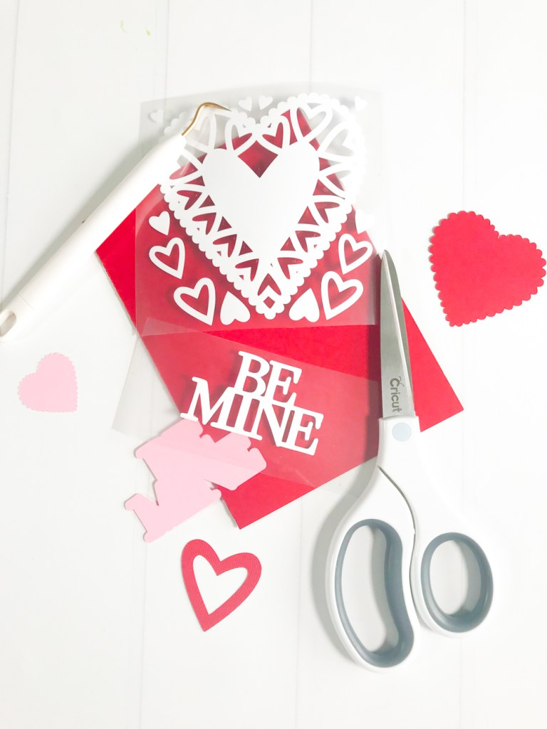 Handmade Valentine's Day Card with your Cricut and Iron On Vinyl by Pineapple Paper Co.