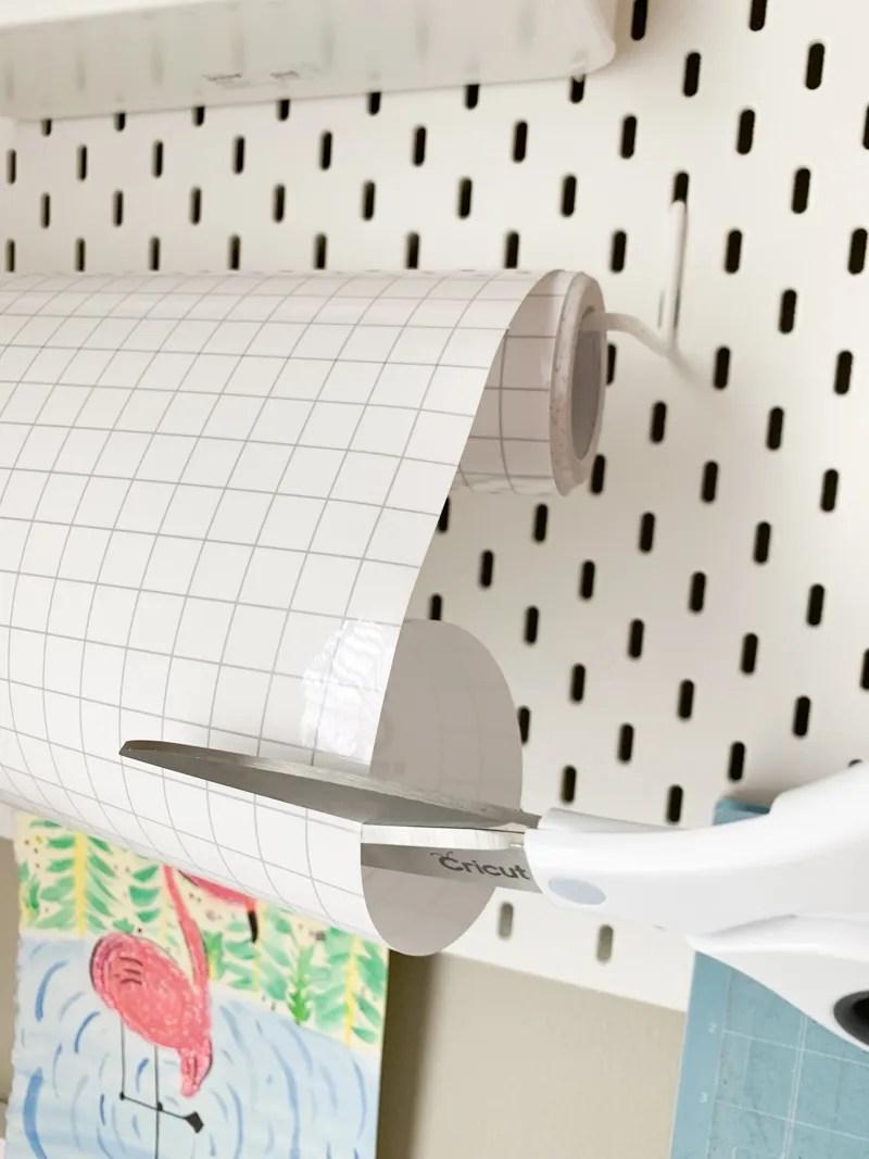 Cricut Scissors Cutting Cricut Transfer Tape from IKEA Pegboard