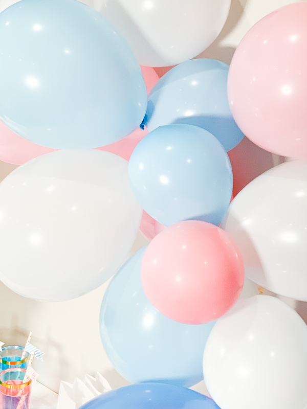 Pink, Blue, and White Balloon Arch for Gender Reveal or Baby Shower by Pineapple Paper Co.