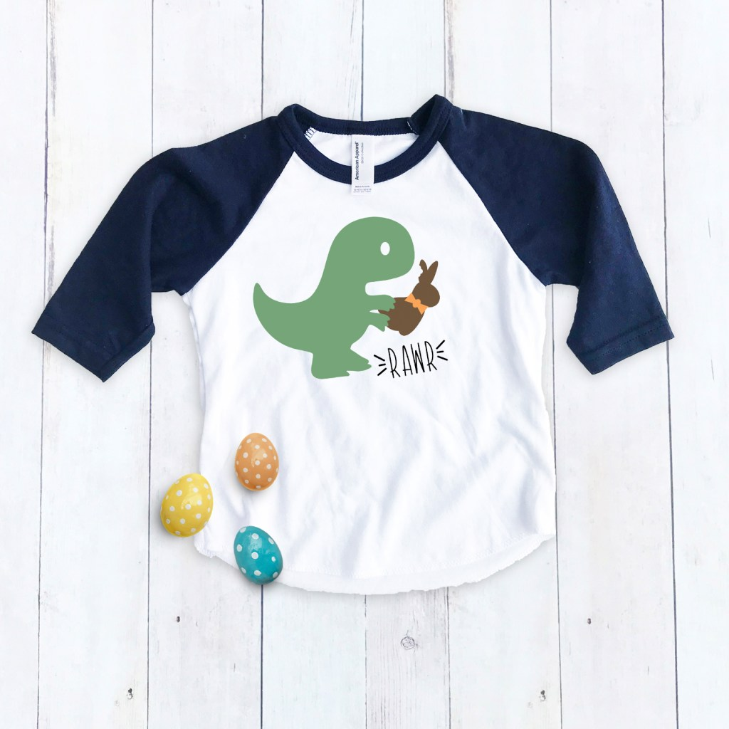 Dinosaur Easter Shirt for Boy with Easter Eggs by Pineapple Paper Co.