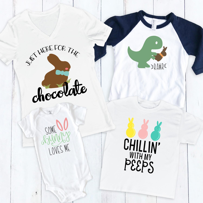 Easter Kids T-shirt Easter Bunny Boy Girl Children Easter T-shirt Bunny Eat
