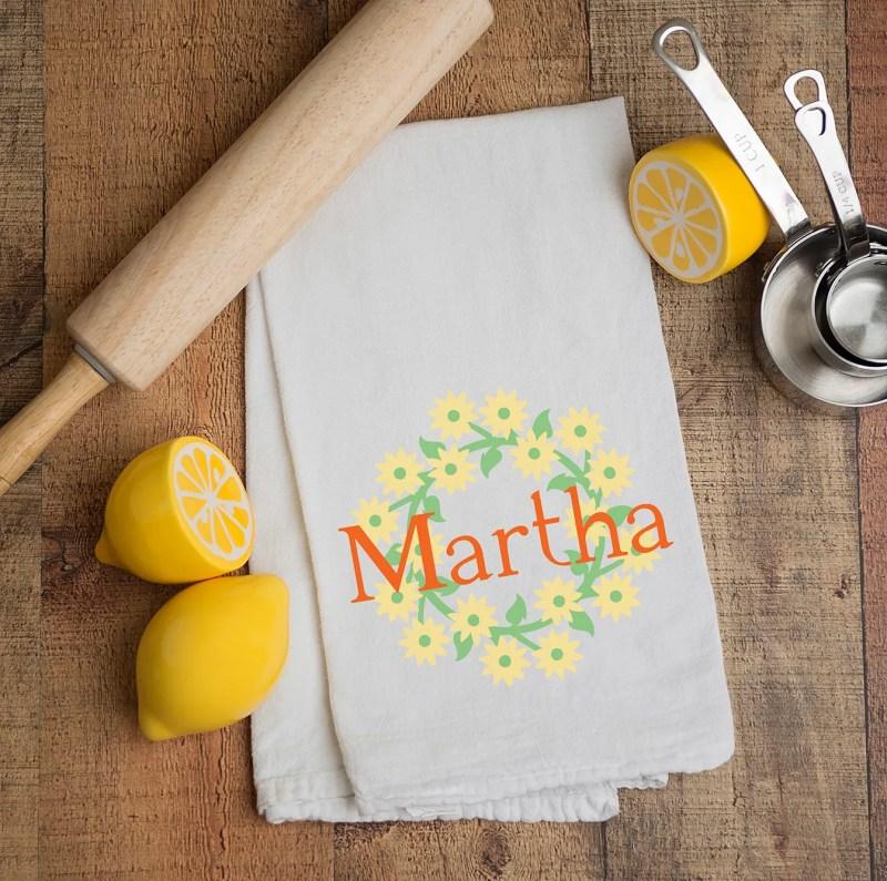 Personalized Martha Kitchen Tea Towel with Cricut Vinyl Flowers