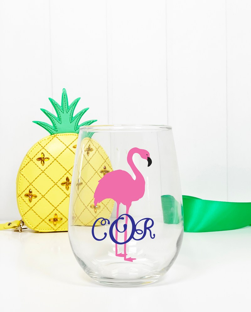 Wine Glass with Flamingo and Monogram Cricut Vinyl