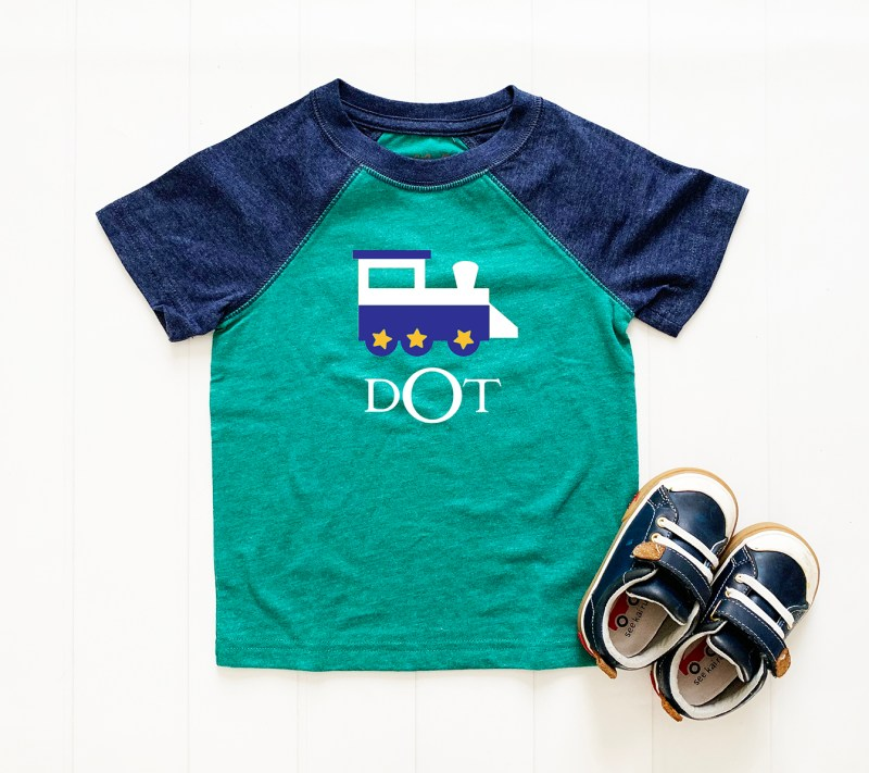 Toddler Boy Shirt with Train and Monogram with Cricut Vinyl