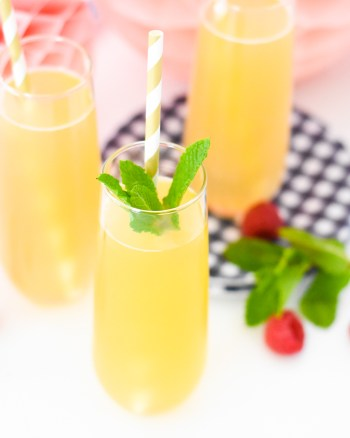 Easy Peach Bellini Recipe with only 2 ingredients by Pineapple Paper Co.