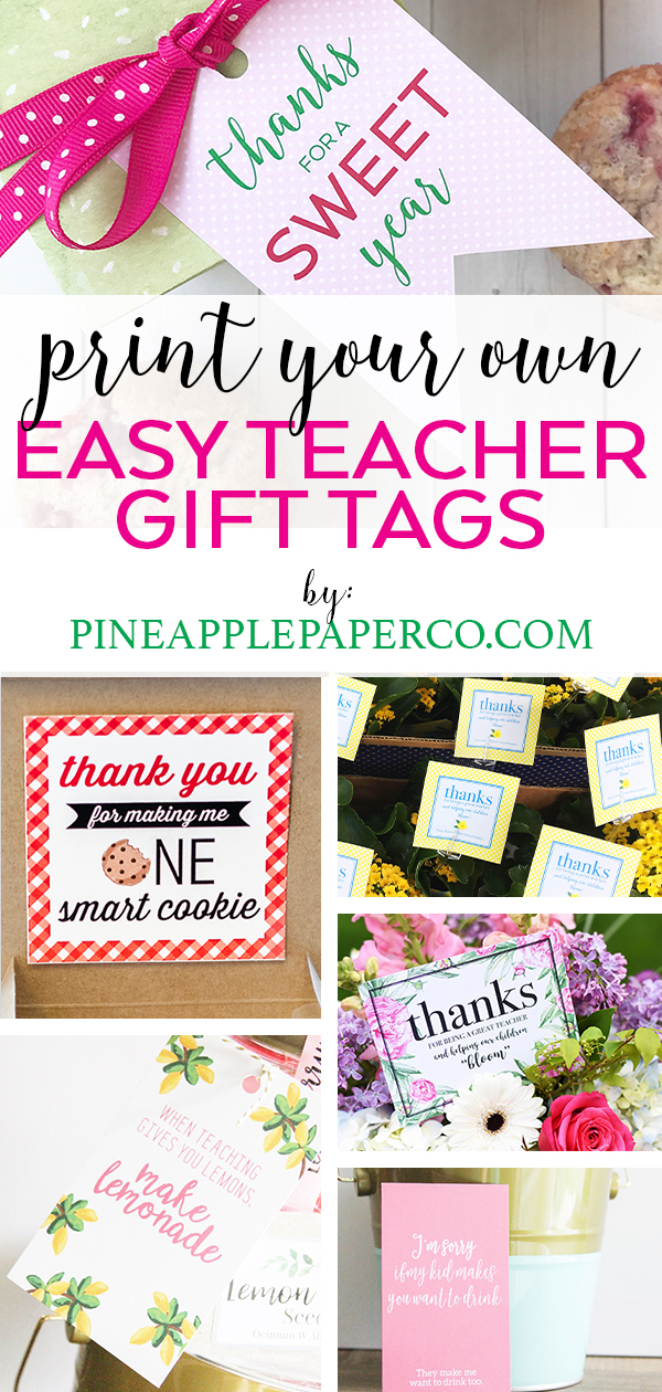 photo about Free Printable Teacher Appreciation Gift Tags titled Cost-free Trainer Appreciation Printables - Pineapple Paper Co.